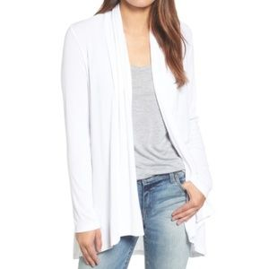 Bobeau high low white open front jersey cardigan